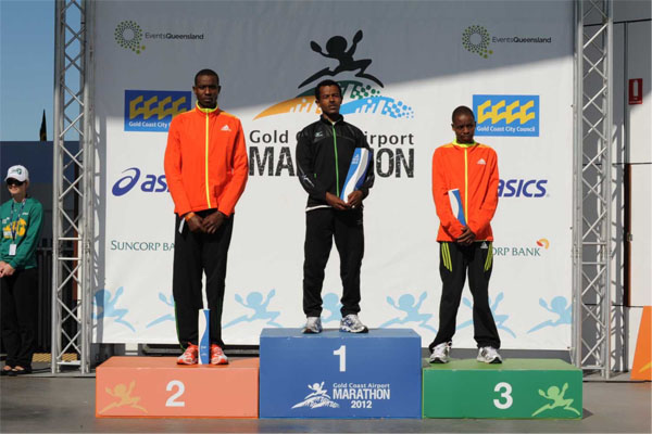 Alemayehu Shumye winner of Gold Coast Airport marathon 2012